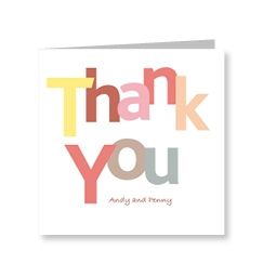 White Letters Thank You Card