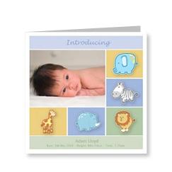 Baby Boy Cute Animals Birth Card