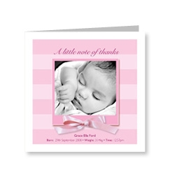 Baby Girl Bows Thank You Card