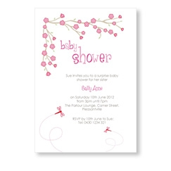 Pink Flowers Baby Shower Invite