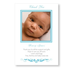 Stylish Blue Baby Card