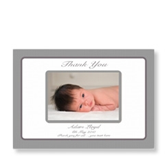 Flat Charcoal Baby Thank You Card
