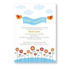 Blue Baby Birds Shower Invitation