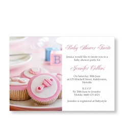 Pink Cup Cakes Baby Girl Shower Invite