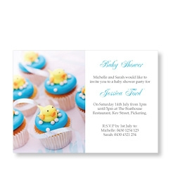 Blue Cup Cake Baby Shower Invite