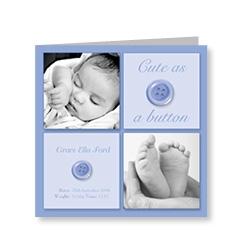 Cute as Button Baby Announcement Card