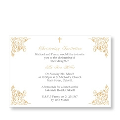 Girl christening invitations babycardsnow christening swish gold cards stopboris Images