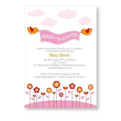 Pink Baby Birds Invitation