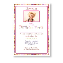 Birthday Girl Colourful Spots Invites