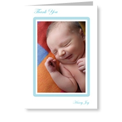 Blue Frame Baby Boy Thank You Cards