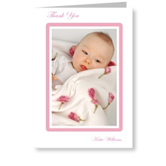 Pink Frame Baby Thank You Cards