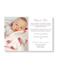 Baby Girl Photo Thank You Card