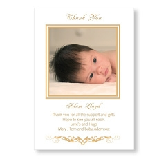 Stylish Gold Baby Thank You Card