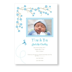 Blue Blossom Flowers Babycard