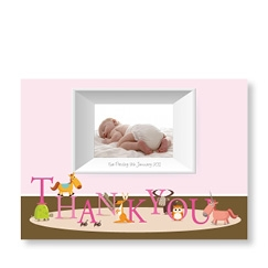 Baby Cards for Girl with Thank You Letters Frame
