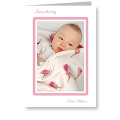 Pink Frame Birth Announcements
