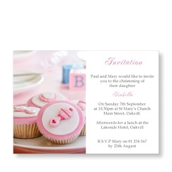 Pink Cup Cakes Christening Invitations