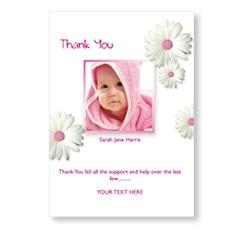 Pink Daisy Flowers Flat Card