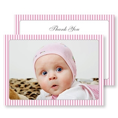 Pink Striped Baby Girl Thank You Cards