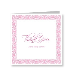 Vintage Pink Frame Thank You Card