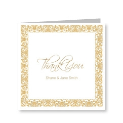 Vintage Gold Thank You Card